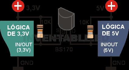Adaptador bidireccional de 3,3V a 5V con mosfet BS170.