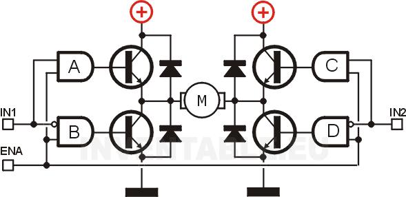 Diodos de protección de los transistores de salida en un puente H.