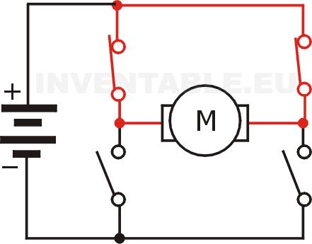 Motor frenado con un puente H hecho con interruptores