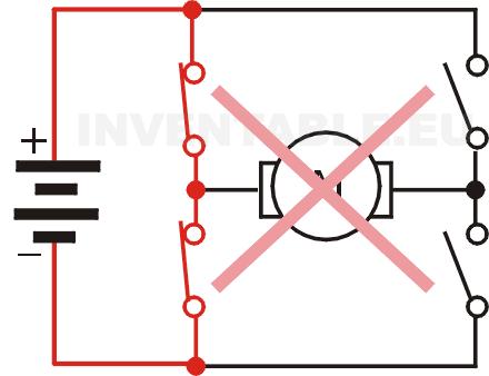 Cortocircuito de la alimentación en un puente H hecho con interruptores