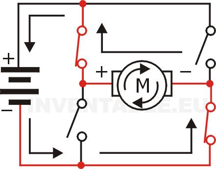 Motor accionado con giro anti-orario un puente H hecho con interruptores