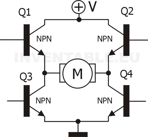 Puente H con transistores NPN sin la lógica de control.