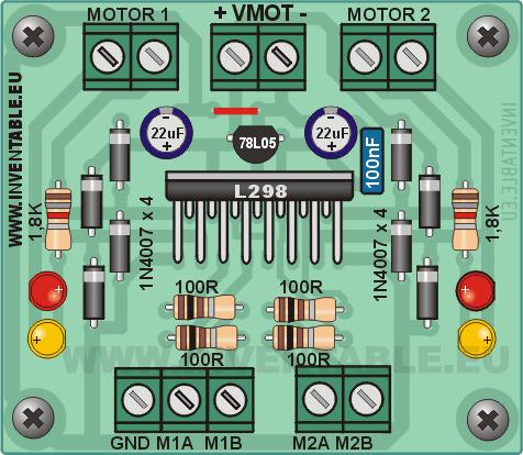 Vista pictórica del driver con L298, versión simplificada.