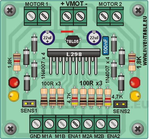Vista pictórica del driver con L298, versión completa.