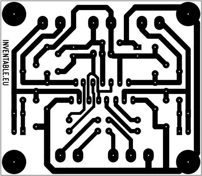 Circuito impreso del driver para motores DC versión simplificada.