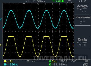 Recorte positivo de una señal muy amplia (más de 5V pico a pico) antes de regular el preset correctamente (forma de onda amarilla).