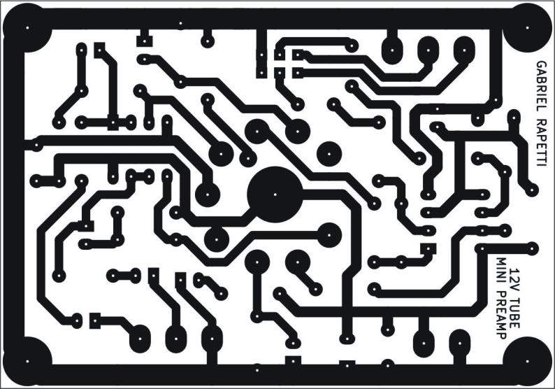 Circuito impreso del preamplificador valvular.