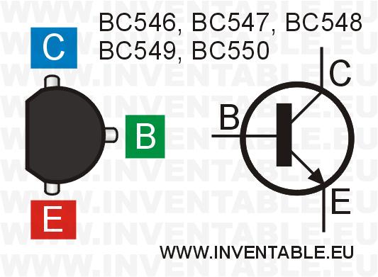 Símbolo y vista desde arriba de los transistores de la familia BC54x.