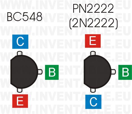 Comparación de las patillas entre el BC548 y el PN2222 (versión plástica del conocido 2N2222).