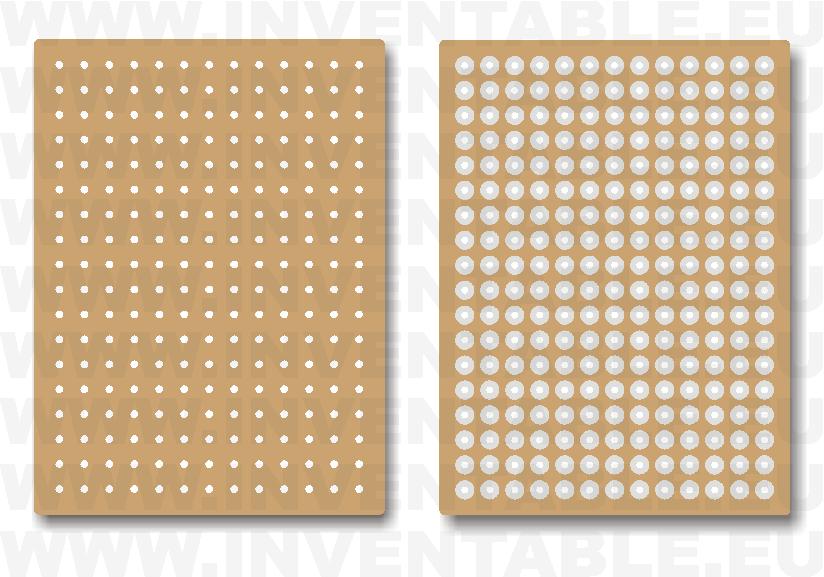Plaquetas con islas circulares: lado componentes y lado soldaduras