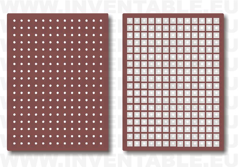 Plaquetas con islas cuadradas: lado componentes y lado soldaduras.