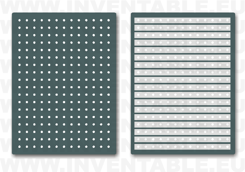Plaquetas con tiras conductoras: lado componentes y lado soldaduras.