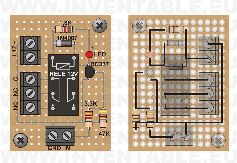 Vista pictórica del driver para relé con transistor de control (lado componentes y lado soldaduras).
