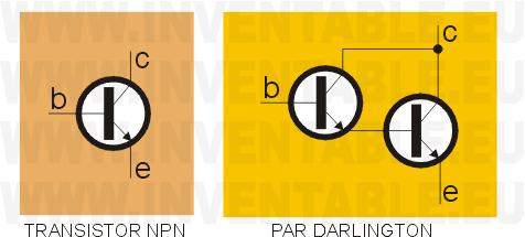 Circuito de un par Darlington comparado con un transistor común.