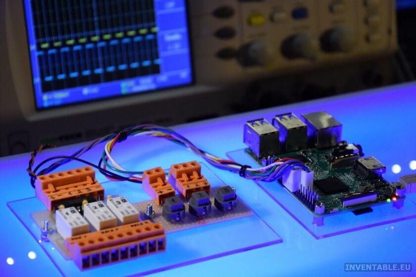 Vista de la interfaz para raspberry PI con pulsadores y relés
