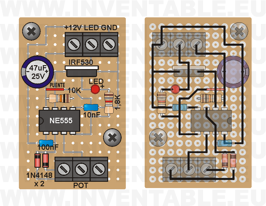 Vista pictórica del regulador para tiras de leds con 555 (lado componentes y lado soldaduras).