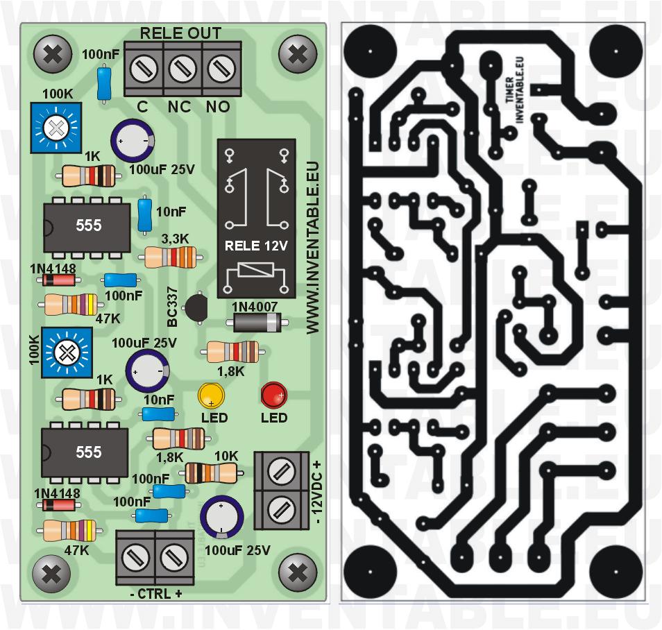 Vista pictórica del temporizador con retardo y circuito impreso.