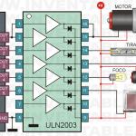 Conexión de un ULN2003 a un microcontrolador y con ejemplos de distintas cargas.