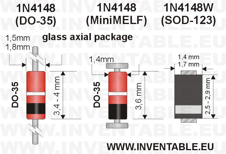 1N4148: encapsulado (package) en sus tres versiones.