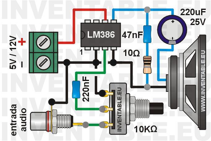 Mini amplificador con LM386