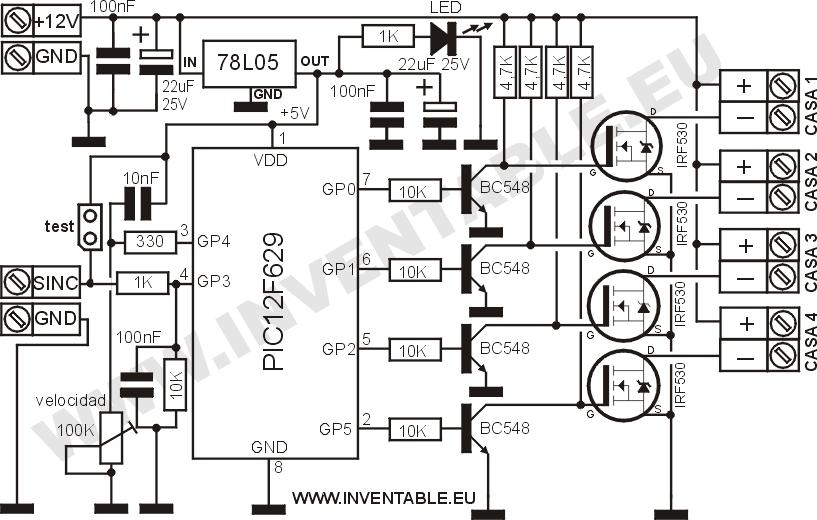 Circuito electrónico del módulo de las casas.