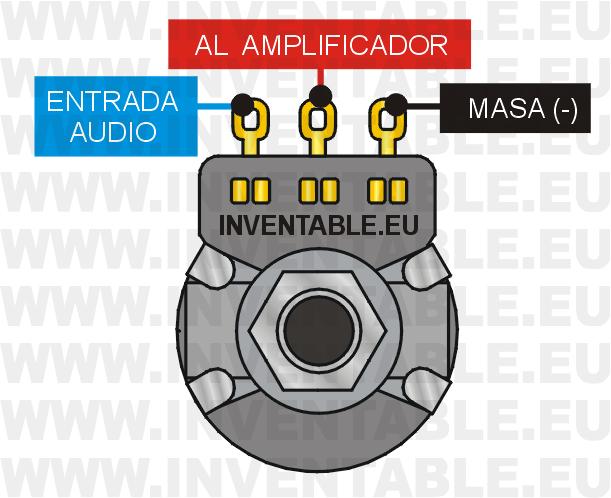 Entradas y salidas de un potenciómetro de volumen para panel.