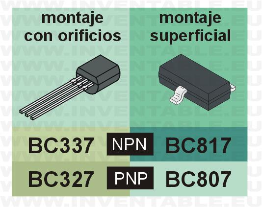 Los BC807 y BC817, equivalentes para montaje superficial de los BC327 y BC337.