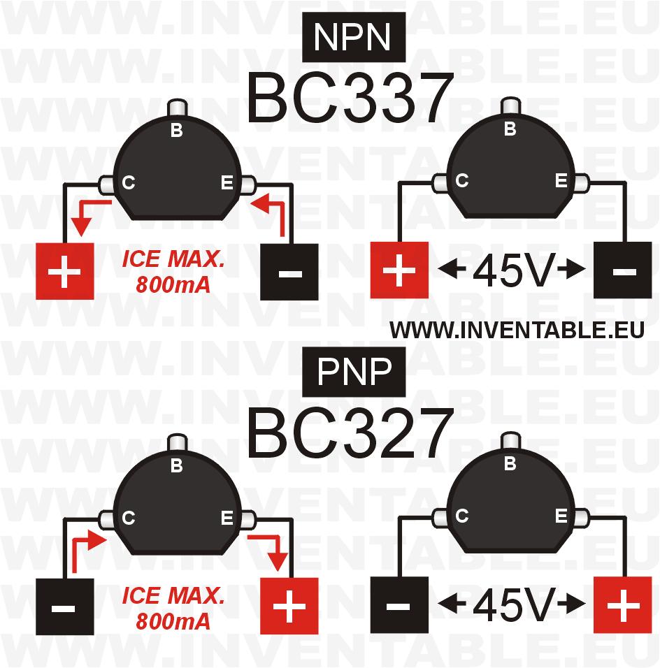 Tensión y corriente máxima de los BC327 y BC337.
