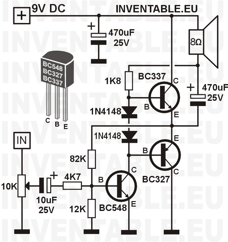 Amplificador transistorizado con transistores BC327 y BC337 de salida.