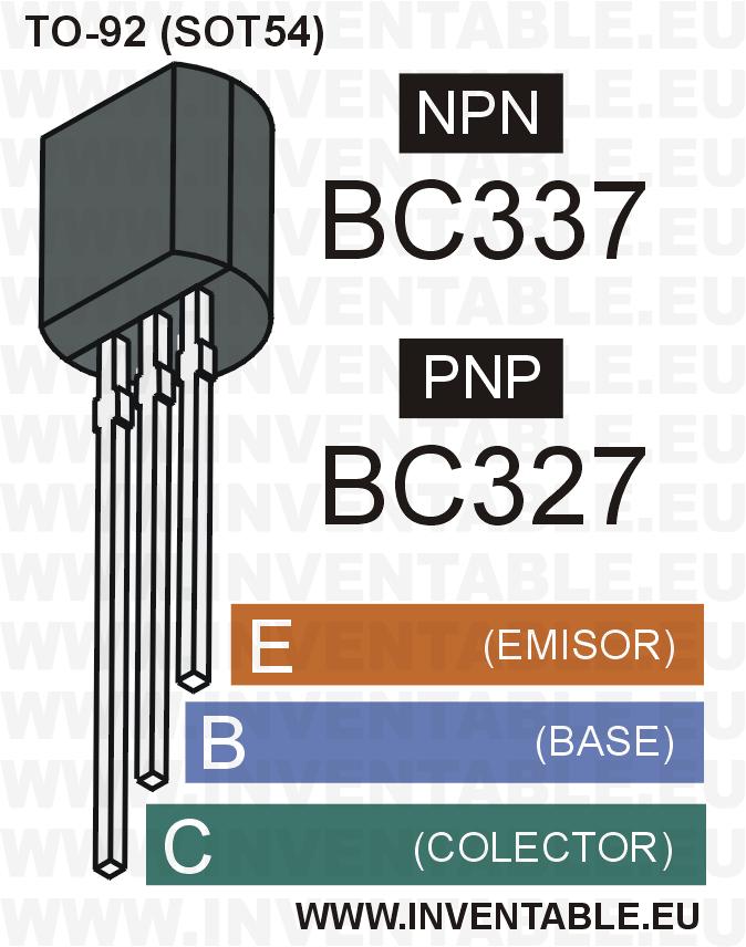 Encapsulado y pines de salida de los BC327 y BC337.