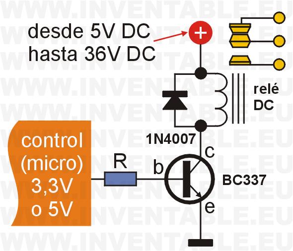 Circuito para controlar un relé con un BC337.