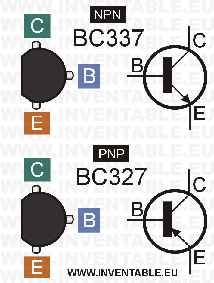 Pines de salida y símbolos electrónicos de los BC327 y BC337.