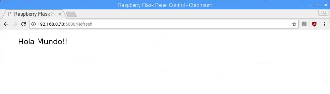 Vista del browser de la Raspberry PI con el programa de test.