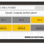 Vista pictórica de la interfaz de control para el teléfono con entradas y salidas activas.