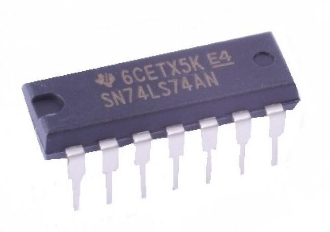 """Circuito integrado que contiene un doble flip flop de tipo """"D"""" de la familia TTL."""