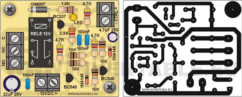 """Vista pictórica y circuito impreso del biestable """"T"""" con transistores y salida relé."""
