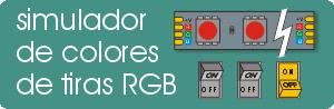 Simulador de colores para tiras de leds RGB. Permite de ver las distintas combinacione de colores encendiendo los distintos canales.