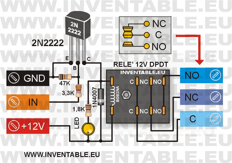 Circuito para controlar un relé con un 2N2222
