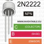 Antiguo encapsulado metálico TO-18 y pines de salida del 2N2222