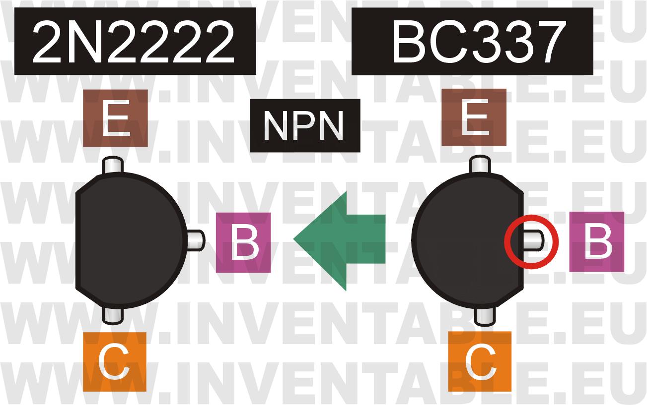 Reemplazo de un 2N2222 por un BC337