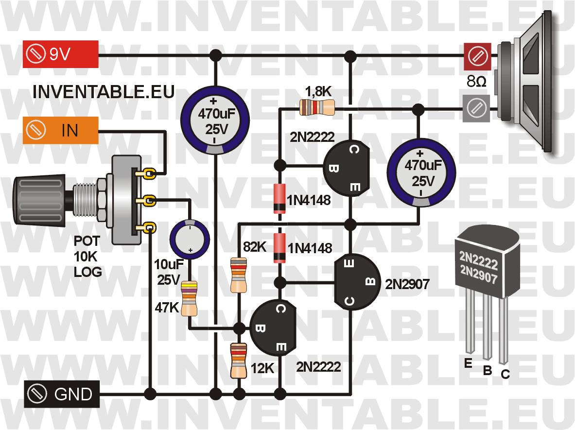 Amplificador con 2N2222 y 2N2907