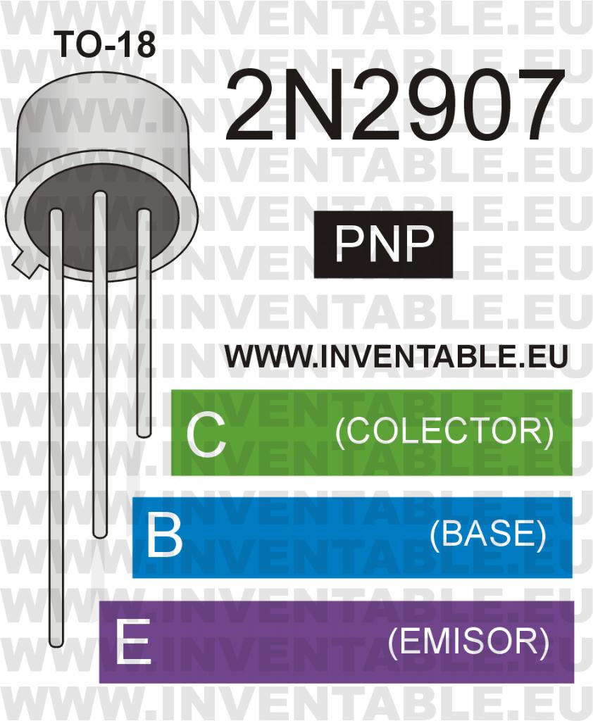 Antiguo encapsulado metálico TO-18 y pines de salida del 2N2907
