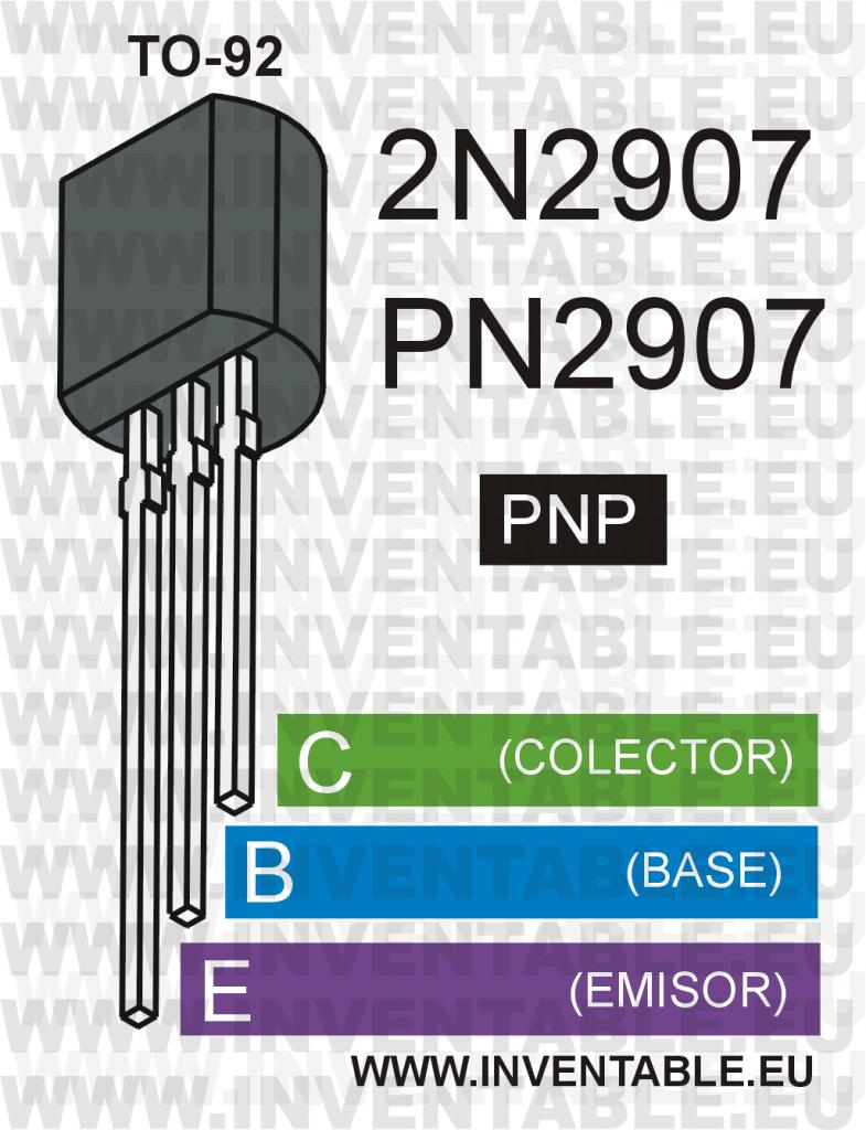 Moderno encapsulado TO-92 y pines de salida del 2N2907