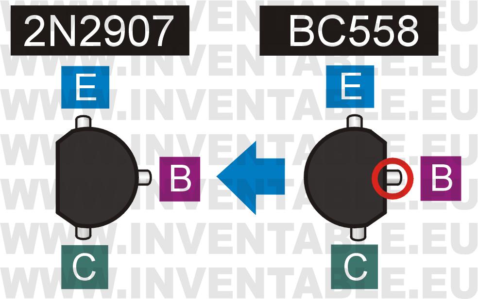 Comparación de las patillas entre el BC558 y el 2N2907 (PN2907).