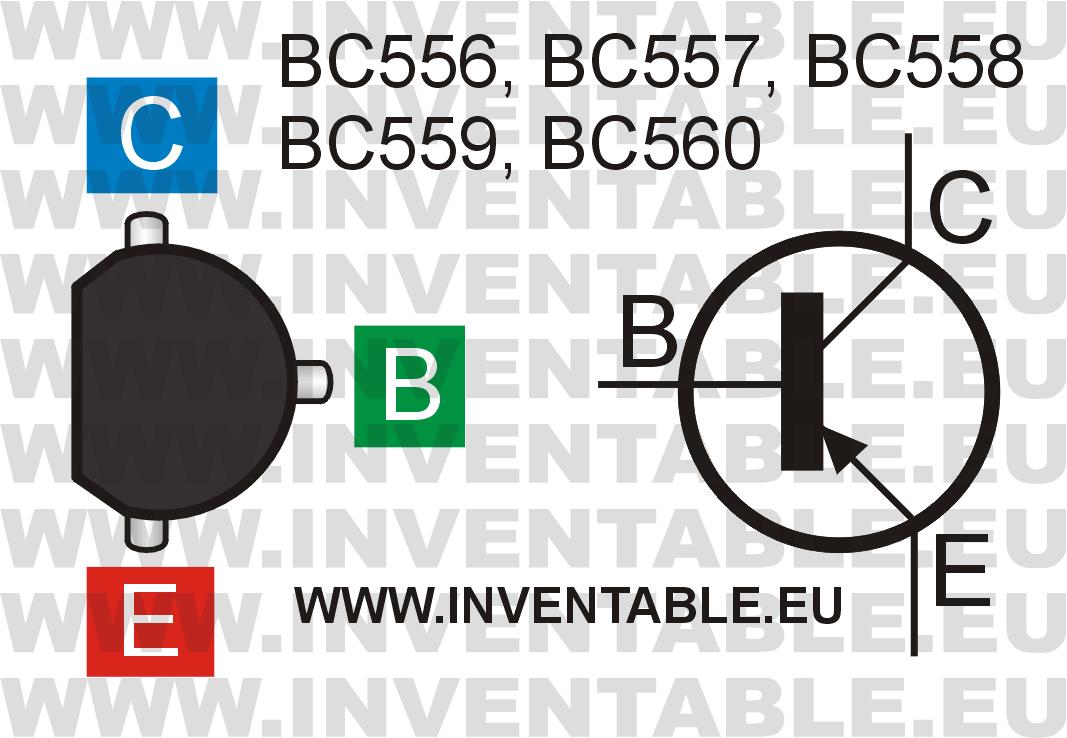 Símbolo y vista desde arriba de los transistores de la familia BC55x.